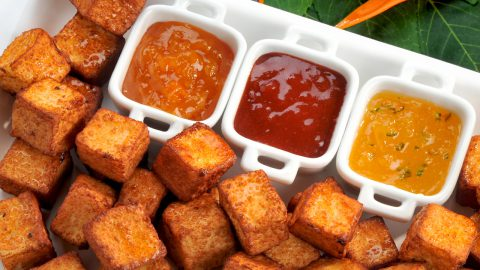 Fried Cheese Cubes with Dipping Sauces