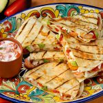 Cheese shrimp and avocado quesadilla