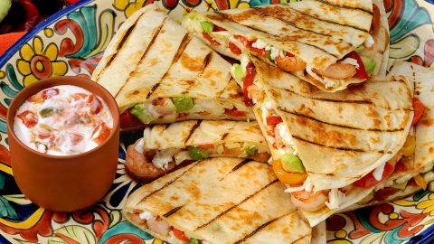 Cheesy Shrimp and Avocado Quesadilla