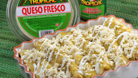 Chicken Enchiladas with Queso Fresco & Crema