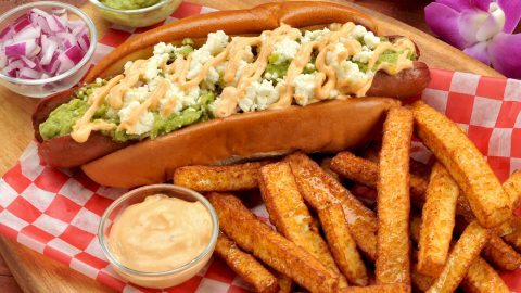 Queso Fresco Topped Hot Dog and Freír Fries