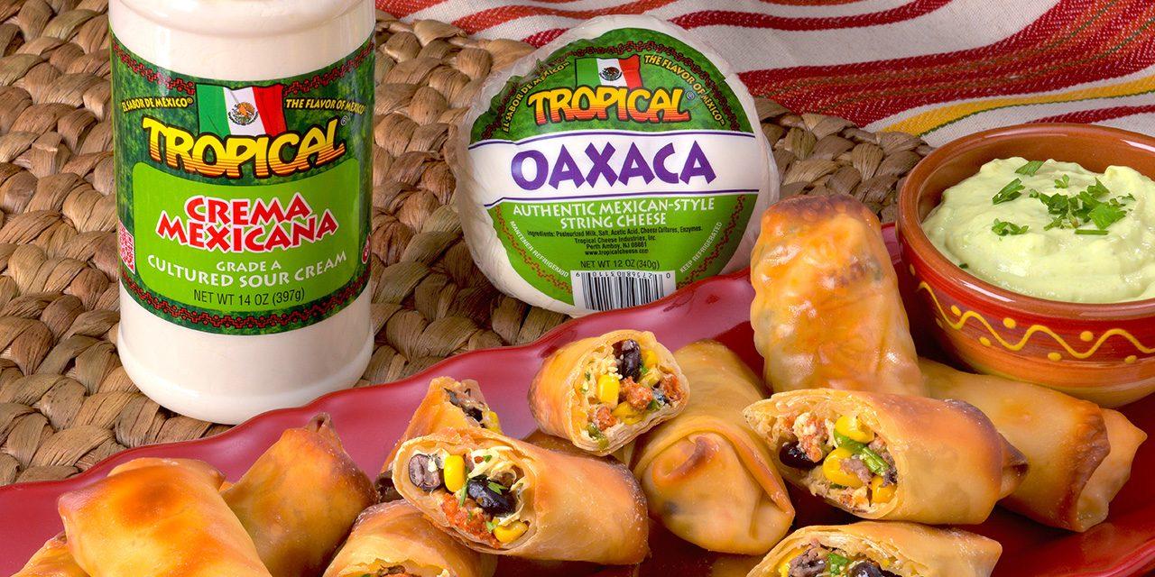 Rollitos de queso oaxaca y chorizo