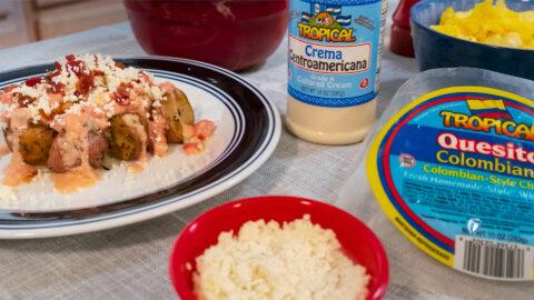 Patatas con Crema y Quesito Colombiano